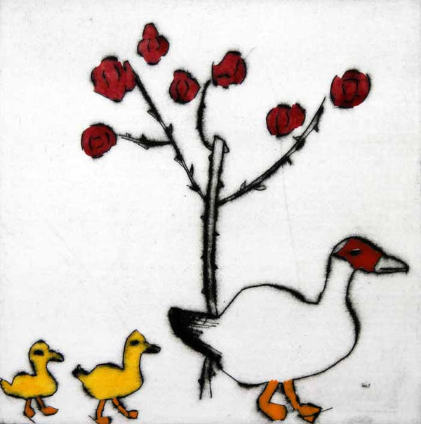 Ducklings - Limited Edition drypoint and watercolour fine art print by artist Richard Spare