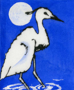 Evening of the Egret - Limited Edition drypoint and watercolour fine art print by artist Richard Spare