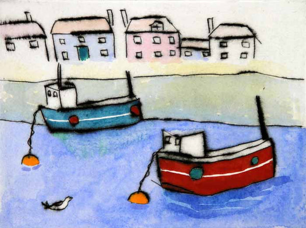 Fishing Boats - Limited Edition drypoint and watercolour fine art print by artist Richard Spare