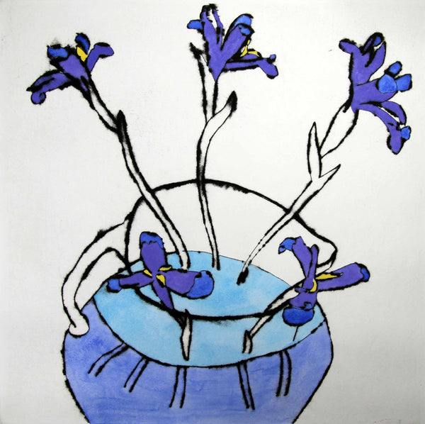 Five Irises - Limited Edition drypoint and watercolour fine art print by artist Richard Spare