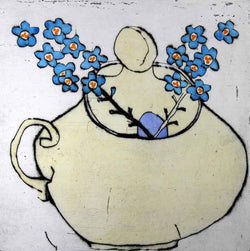 Forgetmenot - Limited Edition drypoint and watercolour fine art print by artist Richard Spare