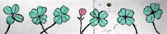 Four Leafed Clover - Limited Edition drypoint and watercolour fine art print by artist Richard Spare