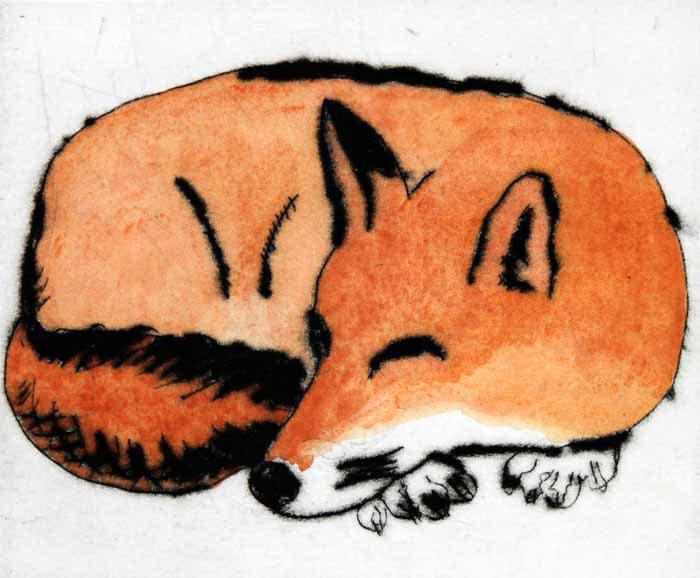 Fox - Limited Edition drypoint and watercolour fine art print by artist Richard Spare