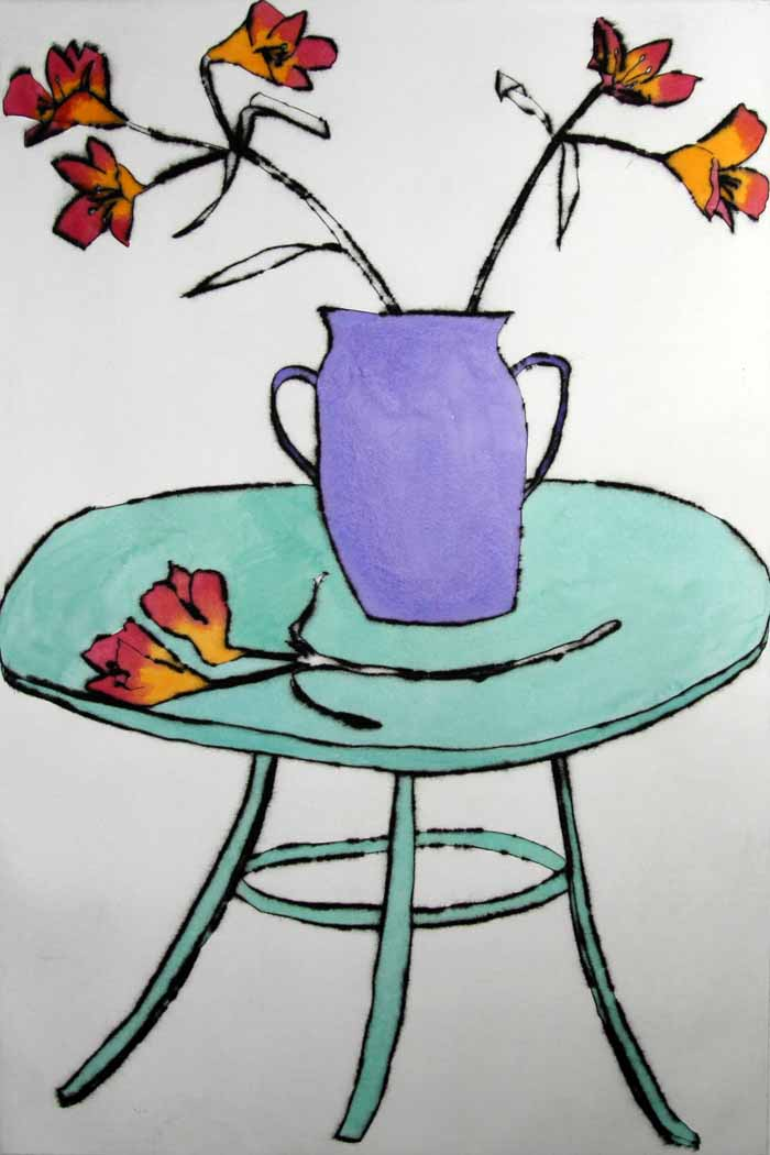 French Table - Limited Edition drypoint and watercolour fine art print by artist Richard Spare
