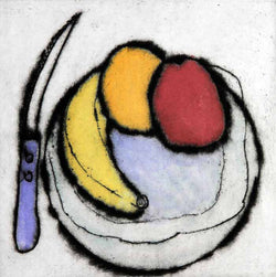Fruit Plate - Limited Edition drypoint and watercolour fine art print by artist Richard Spare