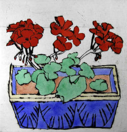 Geraniums - Limited Edition drypoint and watercolour fine art print by artist Richard Spare