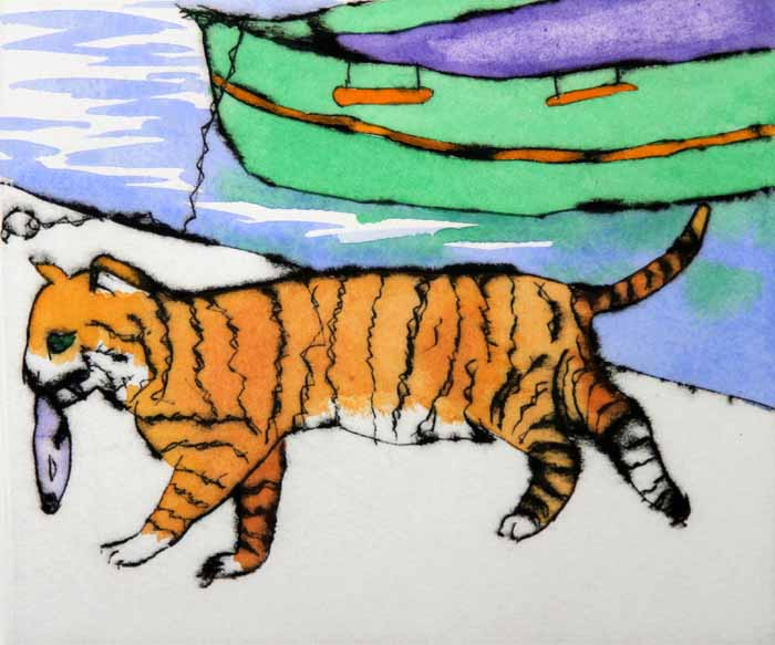 Ginger Tom - Limited Edition drypoint and watercolour fine art print by artist Richard Spare