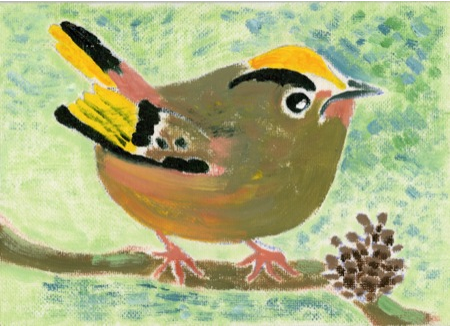 Goldcrest - Original oil on board painting by artist Richard Spare