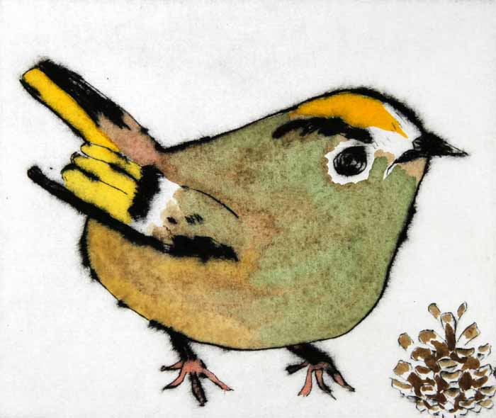 Goldcrest - Limited Edition drypoint and watercolour fine art print by artist Richard Spare