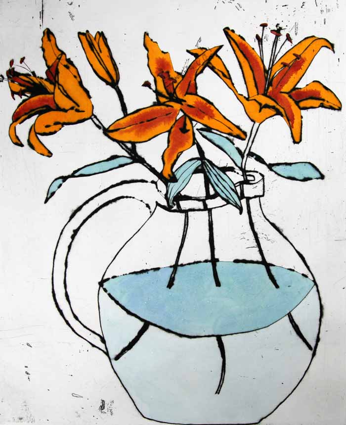 Golden Lilies - Limited Edition drypoint and watercolour fine art print by artist Richard Spare