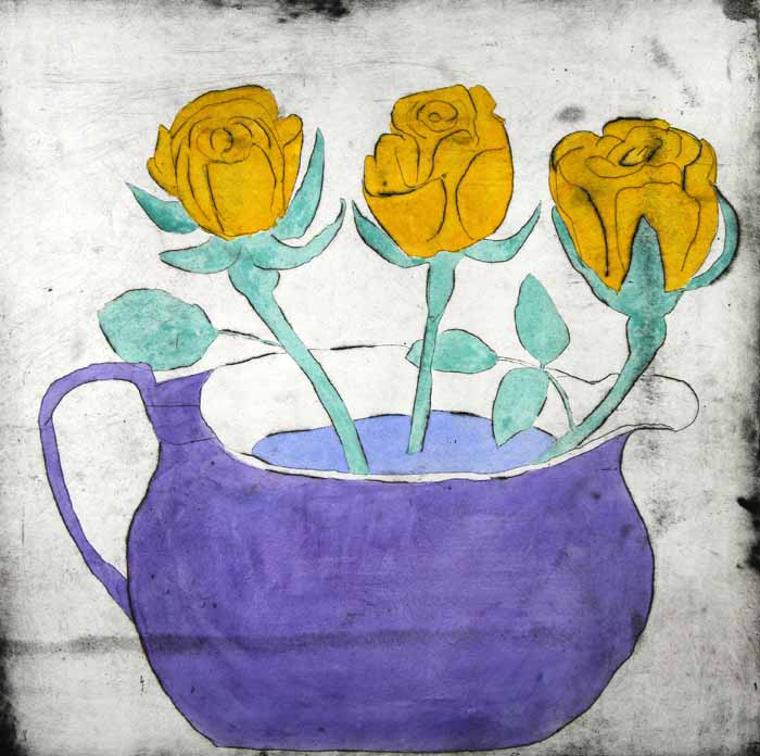 Golden Roses - Limited Edition drypoint and watercolour fine art print by artist Richard Spare