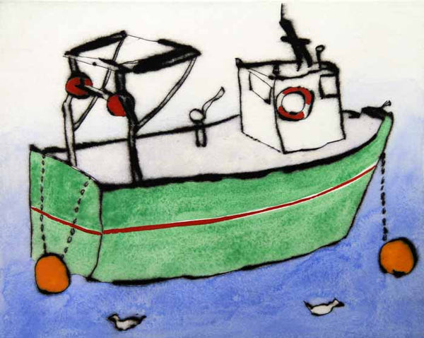 Green Boat - Limited Edition drypoint and watercolour fine art print by artist Richard Spare