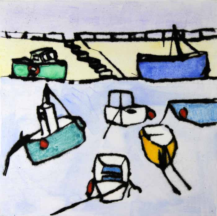 Harbour - Limited Edition drypoint and watercolour fine art print by artist Richard Spare