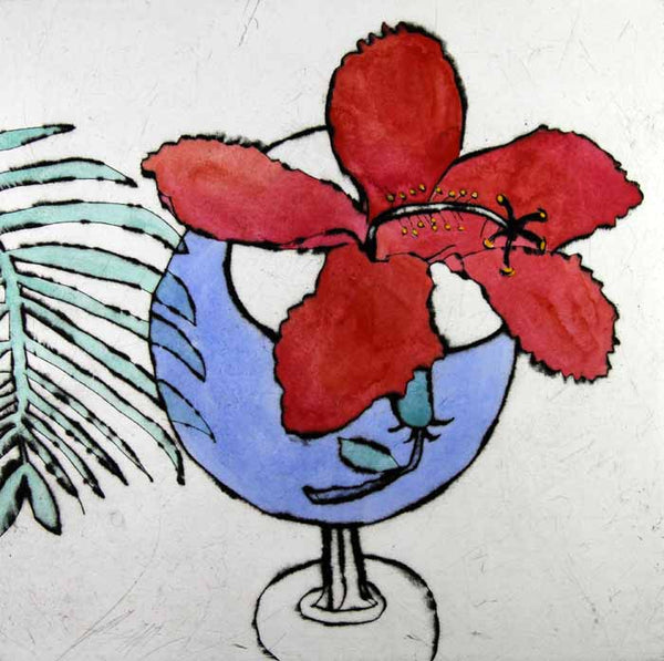 Hibiscus - Limited Edition drypoint and watercolour fine art print by artist Richard Spare