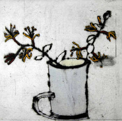 Honeysuckle - Limited Edition drypoint and watercolour fine art print by artist Richard Spare