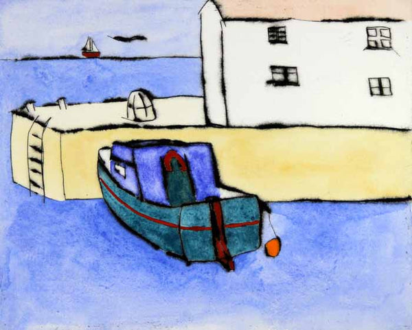 House on the Quay - Limited Edition drypoint and watercolour fine art print by artist Richard Spare