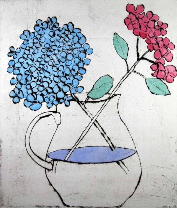 Hydrangea - Limited Edition drypoint and watercolour fine art print by artist Richard Spare