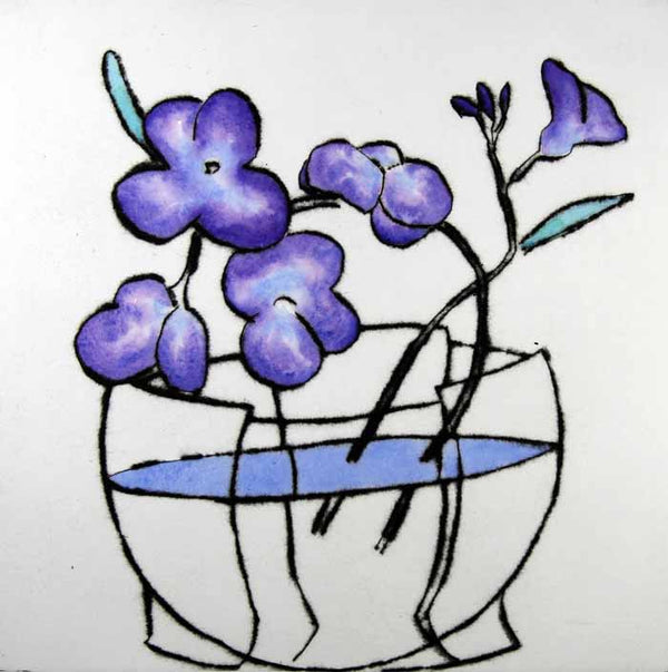 Japanese Bowl - Limited Edition drypoint and watercolour fine art print by artist Richard Spare