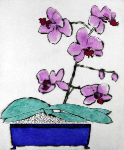 Japanese Orchid - Limited Edition drypoint and watercolour fine art print by artist Richard Spare