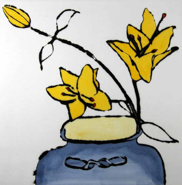 Japanese Vase with Lilies - Limited Edition drypoint and watercolour fine art print by artist Richard Spare