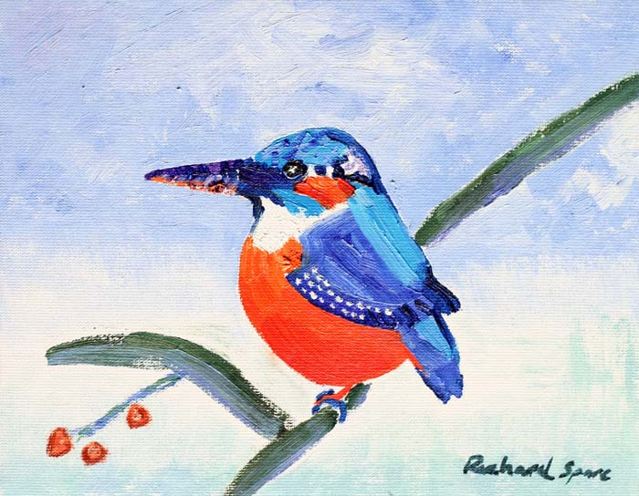 Kingfisher - Original oil on canvas painting by artist Richard Spare