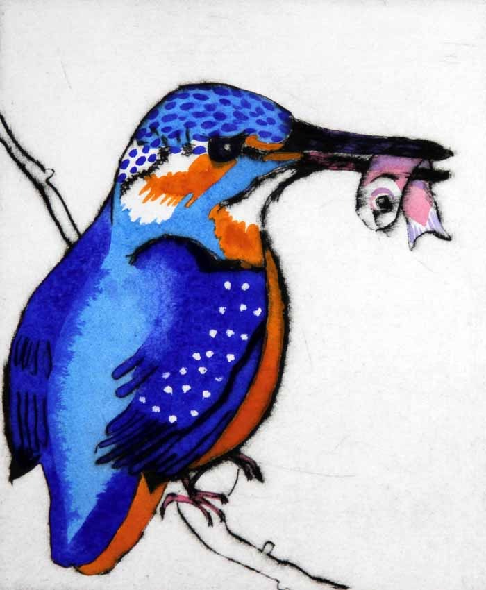 Kingfisher's Catch - Limited Edition drypoint and watercolour fine art print by artist Richard Spare