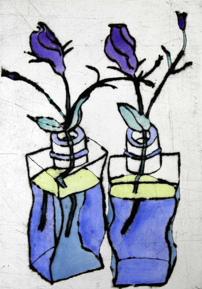 Lisianthus - Limited Edition drypoint and watercolour fine art print by artist Richard Spare