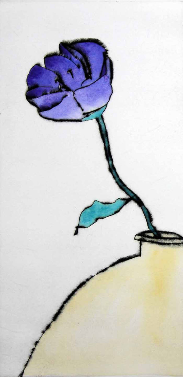 Lisianthus Solo - Limited Edition drypoint and watercolour fine art print by artist Richard Spare