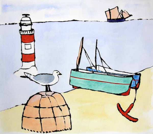 Lobster Pot and Lighthouse - Limited Edition drypoint and watercolour fine art print by artist Richard Spare