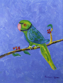 London Parakeet - Original oil on board painting by artist Richard Spare