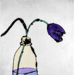 Lone Tulip - Limited Edition drypoint and watercolour fine art print by artist Richard Spare