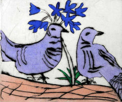 Lovebirds (small) - Limited Edition drypoint and watercolour fine art print by artist Richard Spare