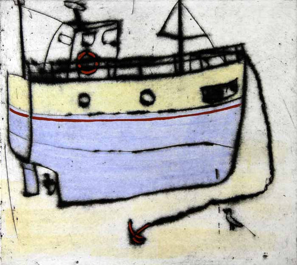 Low Tide - Limited Edition drypoint and watercolour fine art print by artist Richard Spare