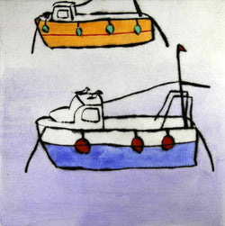 Mooring - Limited Edition drypoint and watercolour fine art print by artist Richard Spare