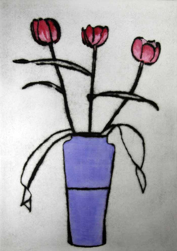 Morning Tulips - Limited Edition drypoint and watercolour fine art print by artist Richard Spare