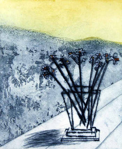 Mountain and Flowers - Limited Edition drypoint and aquatint fine art print by artist Richard Spare