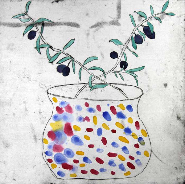 Murano Vase - Limited Edition drypoint and watercolour fine art print by artist Richard Spare