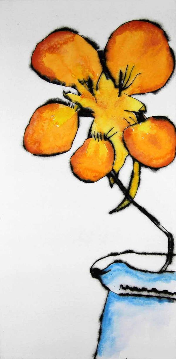 Nasturtium - Limited Edition drypoint and watercolour fine art print by artist Richard Spare