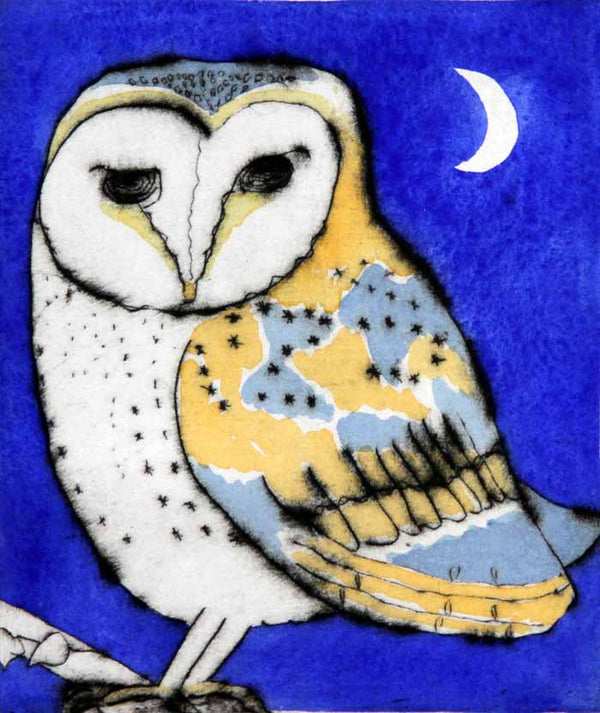 Night Owl - Limited Edition drypoint and watercolour fine art print by artist Richard Spare