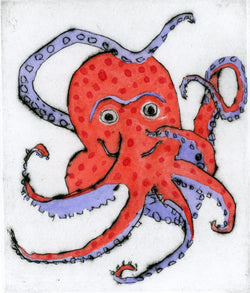 Octopus Dance - Limited Edition drypoint and watercolour fine art print by artist Richard Spare