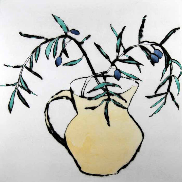 Olives - Limited Edition drypoint and watercolour fine art print by artist Richard Spare