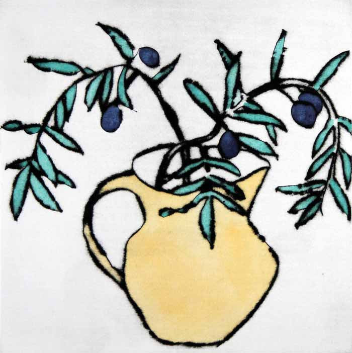 Olives II - Limited Edition drypoint and watercolour fine art print by artist Richard Spare