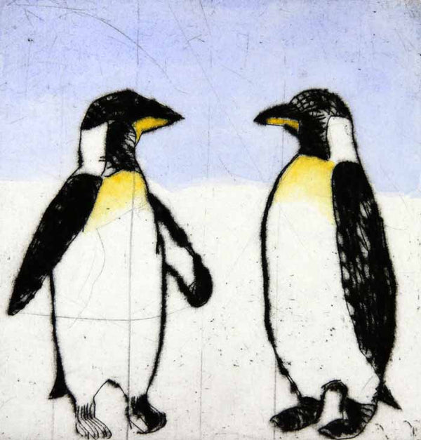 Penguins - Limited Edition drypoint and watercolour fine art print by artist Richard Spare