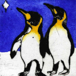 Penguins Stargazing - Limited Edition drypoint and watercolour fine art print by artist Richard Spare