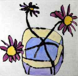 Pink Daisies - Limited Edition drypoint and watercolour fine art print by artist Richard Spare