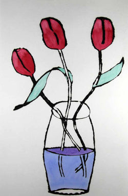Pink Tulips - Limited Edition drypoint and watercolour fine art print by artist Richard Spare