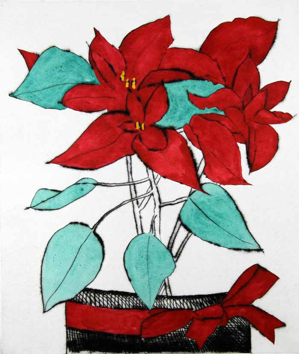 Poinsettia - Limited Edition drypoint and watercolour fine art print by artist Richard Spare