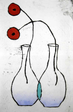 Poppy Duet - Limited Edition drypoint and watercolour fine art print by artist Richard Spare