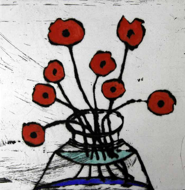 Poppy Spray - Limited Edition drypoint and watercolour fine art print by artist Richard Spare