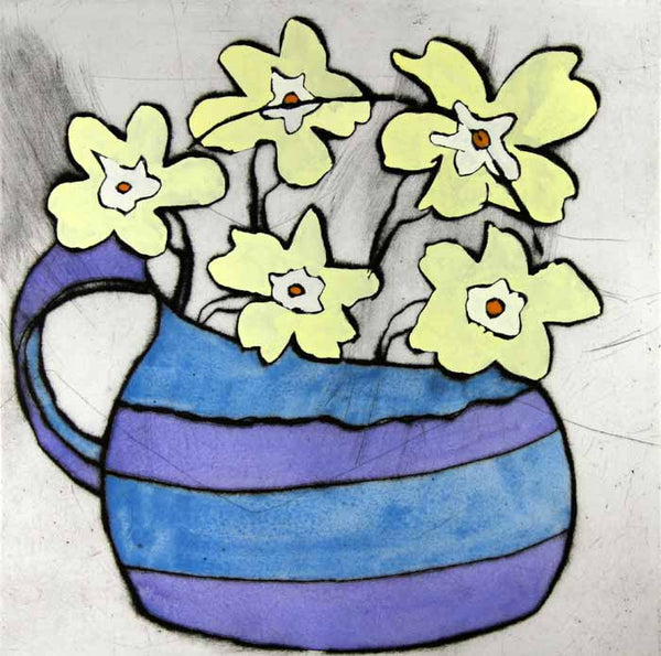 Primroses - Limited Edition drypoint and watercolour fine art print by artist Richard Spare